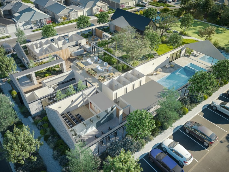Lifestyle Communities St leonards Clubhouse Aerial Render